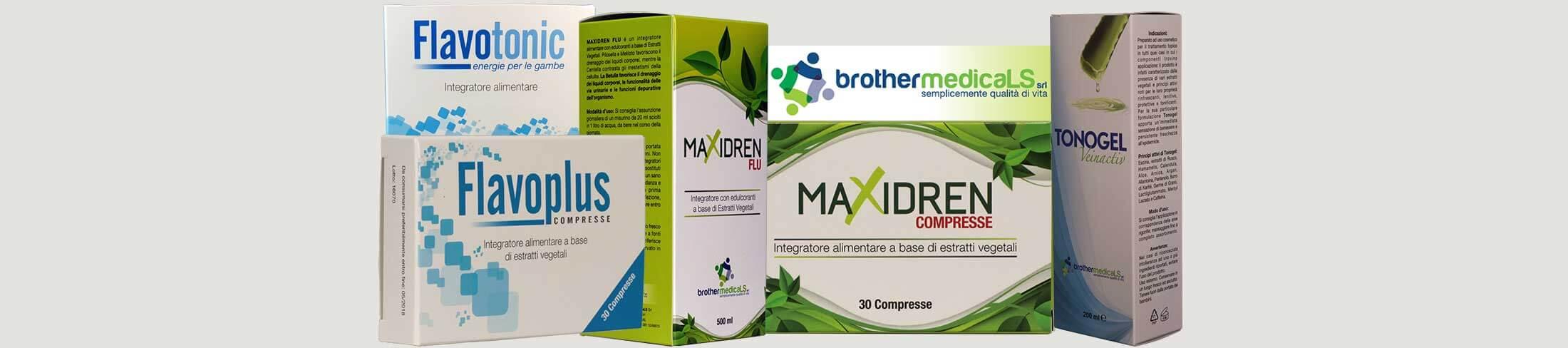 BROTHERMEDICALS SRL: Flavotonic polvere solubile, Flavoplus compresse, Maxidren Flu e compresse e infine Tonogel Veinactiv